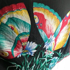 Vintage extra large butterfly scarf wrap